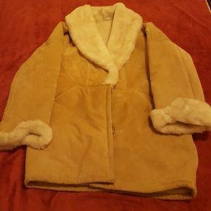 Jackets & Blazers - Vintage lamb suede Buckskin leatger coat